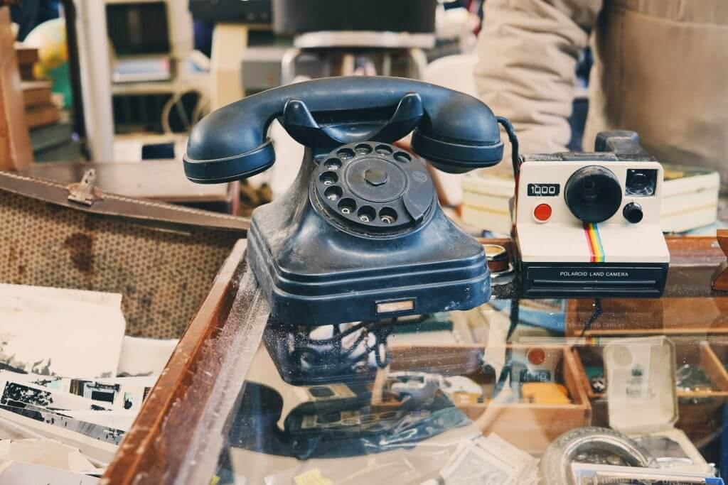Old vintage phone spotted at Porte Portese flea market