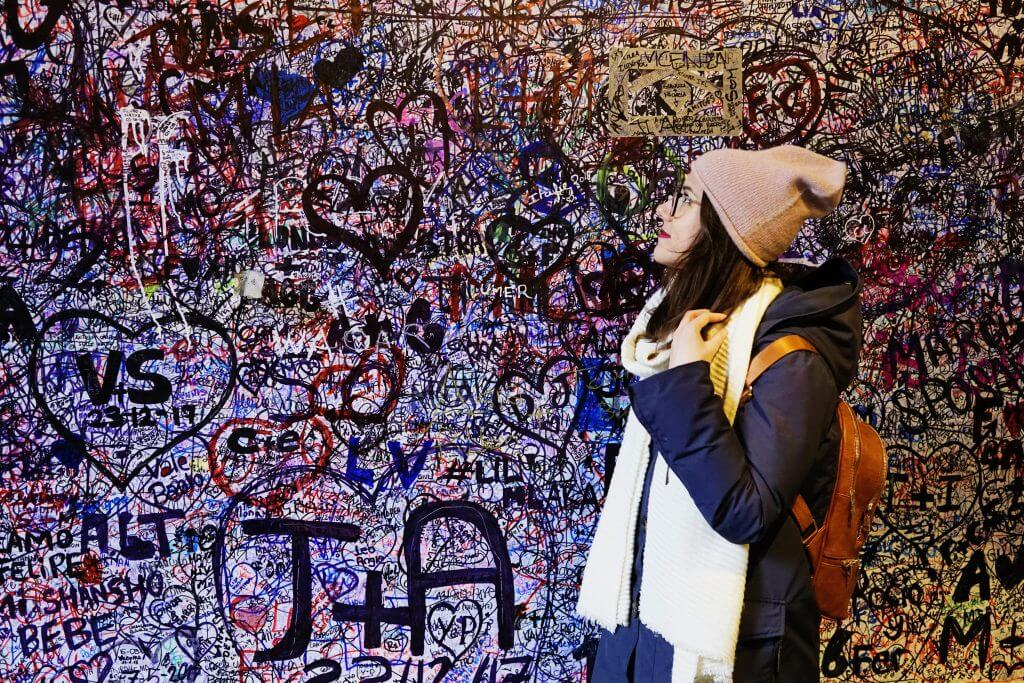 Graffiti wall with love letters in Verona, the city of Romeo and Juliet in Italy