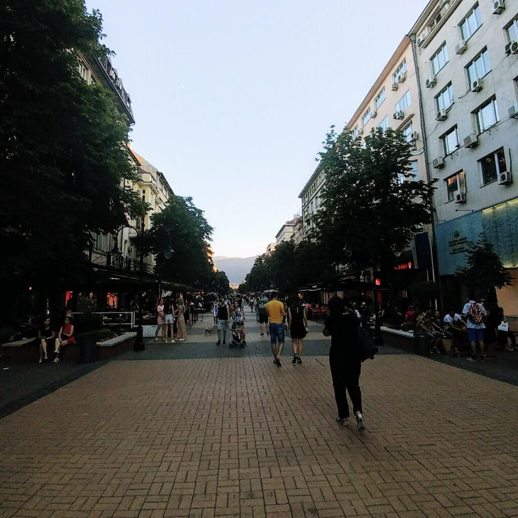 vitosha street in sofia, bulgaria