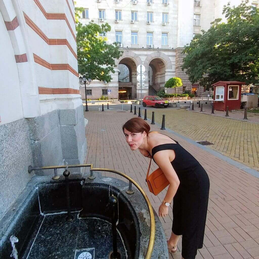 drinking free mineral water in Sofia, Bulgaria