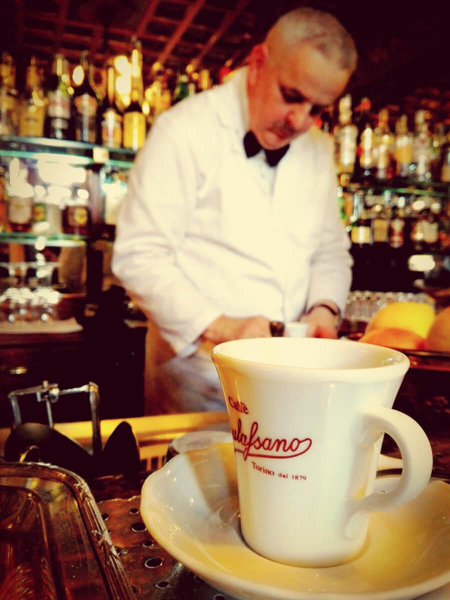 Making italian coffee in Turin, Italy