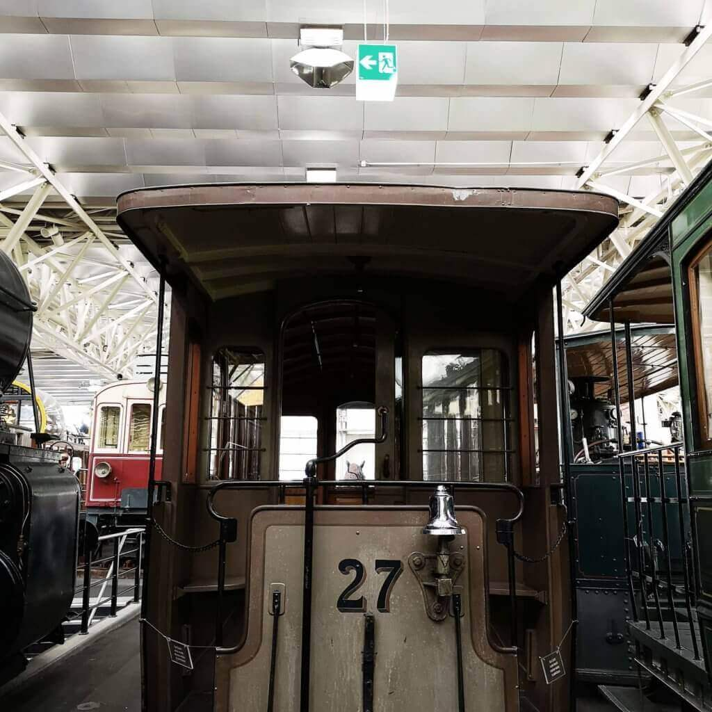 train in swiss museum of public transport in lucerne