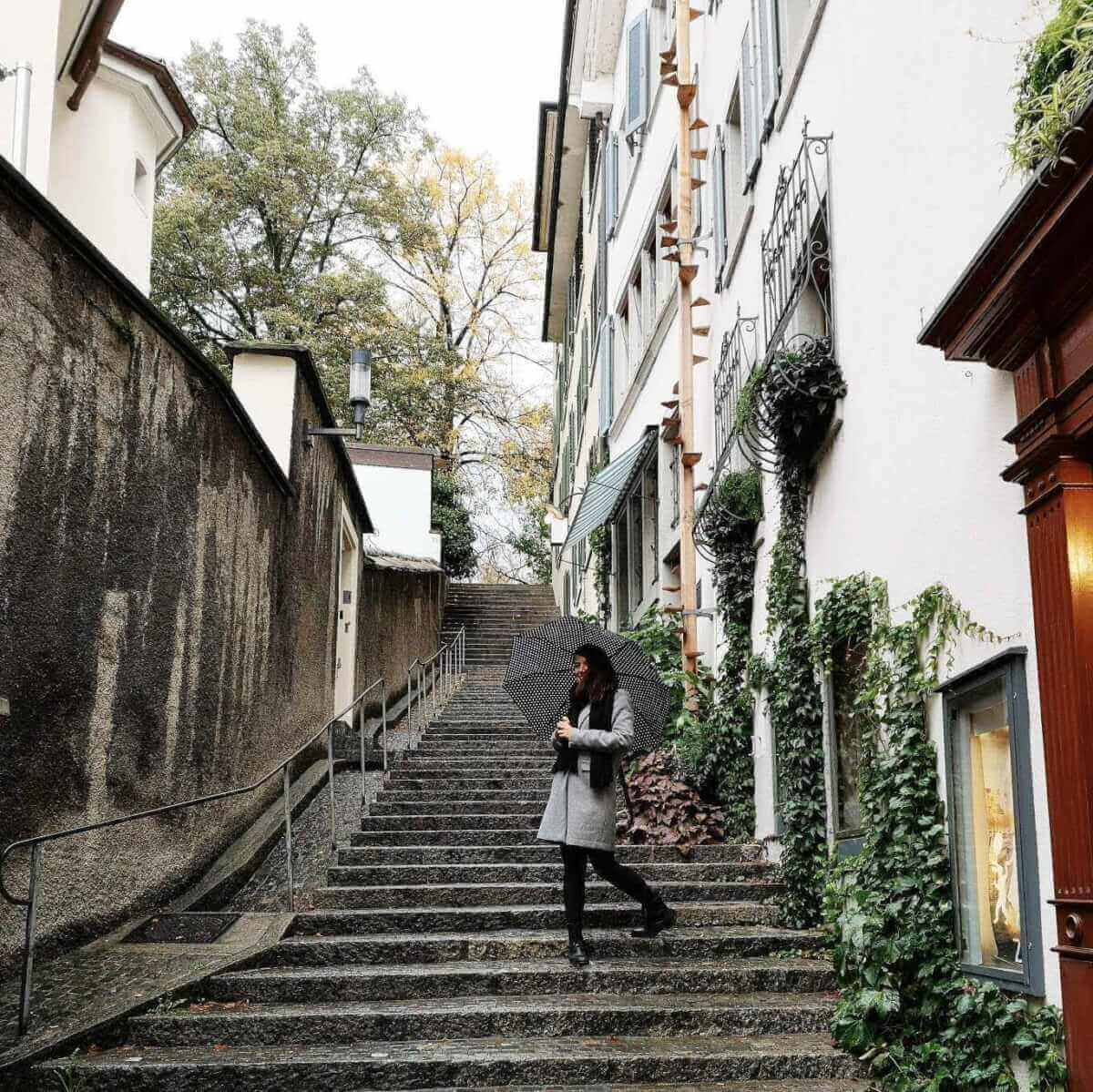 girl in Zurich's old center Altstadt